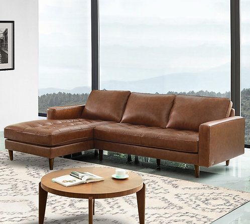 Holloway Mid-Century Top Grain Leather Sectional