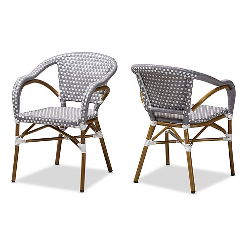 ELIANE CLASSIC FRENCH INDOOR AND OUTDOOR GREY AND WHITE SET OF 2