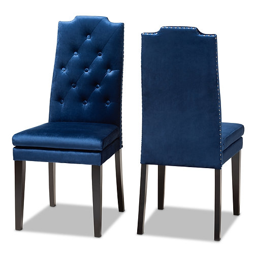 DYLIN MODERN AND CONTEMPORARY NAVY BLUE VELVET FABRIC UPHOLSTERED DINING CHAIR 2