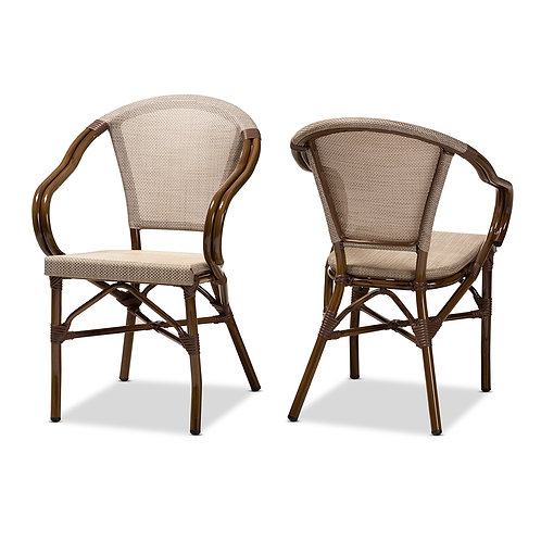 ARTUS CLASSIC FRENCH INDOOR AND OUTDOOR GREY BAMBOO STYLE DINING CHAIR SET OF 2