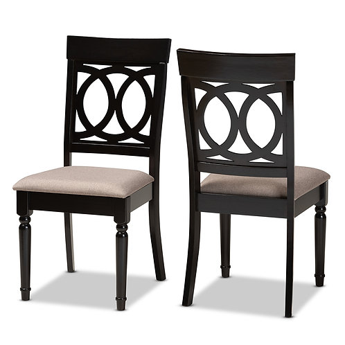 LUCIE MODERN AND CONTEMPORARY SAND FABRIC UPHOLSTERED DINING CHAIRS ( SET OF 2 )