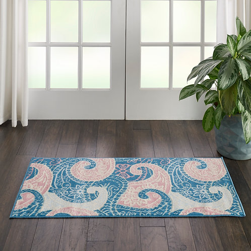 Jubilant Small Pink and Blue Paisley Area Rug