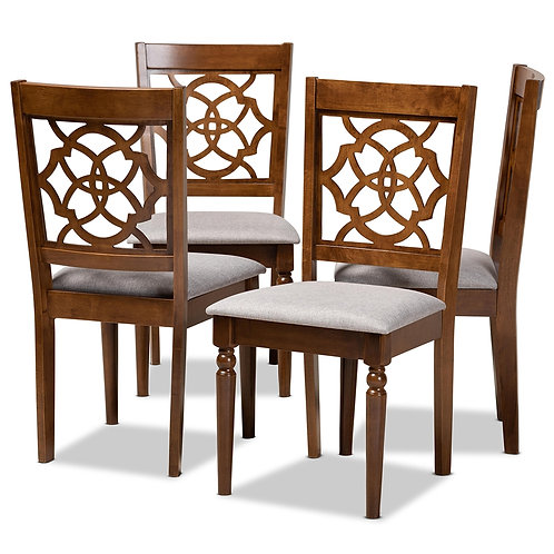 LYLAH MODERN AND CONTEMPORARY GREY FABRIC UPHOLSTERED DINING CHAIRS ( SET OF 4)