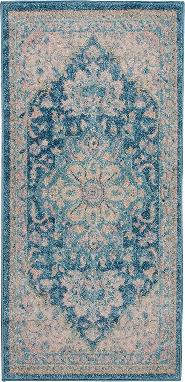 Nourison Tranquil 2'x4' Turquoise Blue and White Oushak Small Rug