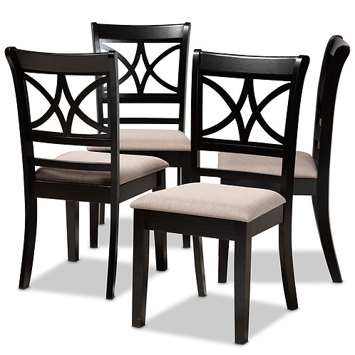 CLARKE MODERN AND CONTEMPORARY SAND FABRIC UPHOLSTERED DINING CHAIRS (SET OF 4)