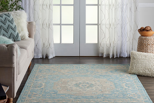Azura AZM02 Aqua Farmhouse Area Rug