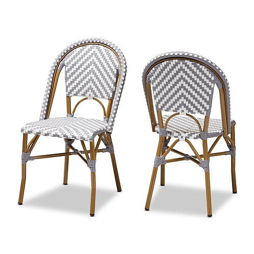 CELIE CLASSIC FRENCH INDOOR AND OUTDOOR GREY BAMBOO CHAIRS SET