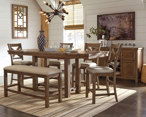 Moriville - Counter Height Dining Table and 4 Barstools and Bench