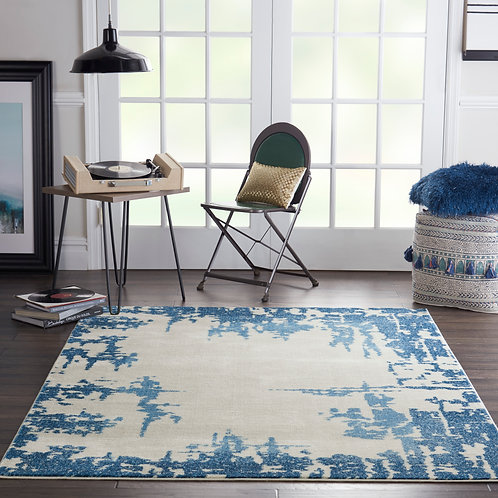 Etchings Ivory/Blue Abstract Area Rug