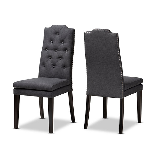 DYLIN MODERN AND CONTEMPORARY CHARCOAL UPHOLSTERED DINING CHAIRS SET 2