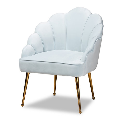 CINZIA GLAM AND LUXE LIGHT BLUE VELVET FABRIC SEASHELL ACCENT CHAIR