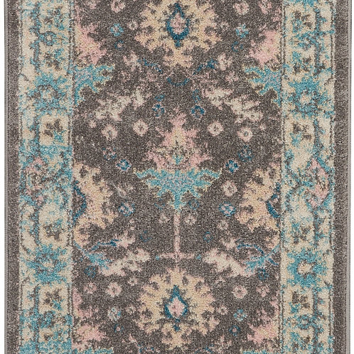 Nourison Tranquil 2'x4' Pink and Grey Bordered Oriental Small Rug