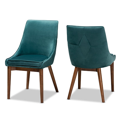 GILMORE MODERN AND CONTEMPORARY TEAL VELVET FABRIC UPHOLSTERED ( SET OF 2)