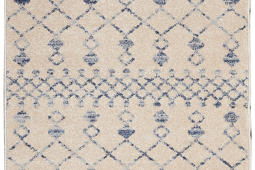Palermo Beige and Blue  Distressed Bohemian Area Rug