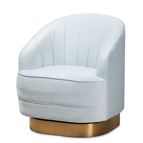 FIORE GLAM AND LUXE LIGHT BLUE VELVET FABRIC BRUSHED GOLD FINISHED ACCENT CHAIR