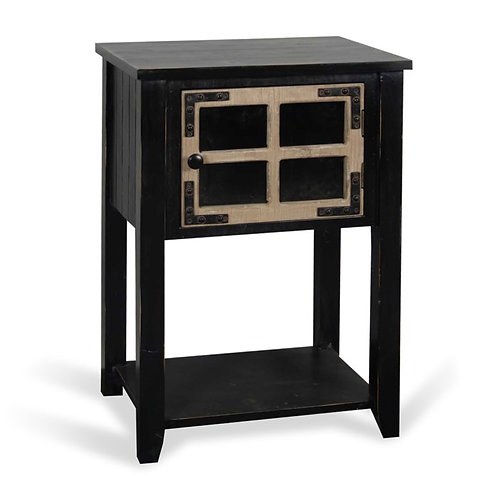 Antique Black and Weathered Wood Side Table