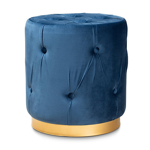 GAIA GLAM AND LUXE NAVY BLUE FABRIC UPHOLSTERED GOLD FINISHED OTTOMAN