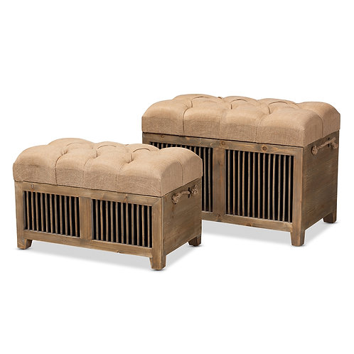 CLEMENT RUSTIC TRANSITIONAL FARMHOUSE BEIGE FABRIC UPHOLSTERED OTTOMANS
