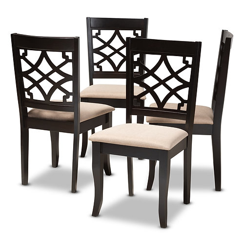 MAEL MODERN AND CONTEMPORARY SAND FABRIC UPHOLSTERED DINING CHAIRS SET OF 4