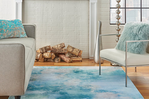 Le Reve LER02 Blue and Grey PhotoReal Area Rug