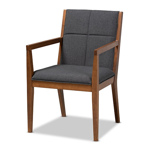 THERESA MID-CENTURY MODERN GREYISH DARK GREY UPHOLSTERED ACCENT CHAIR