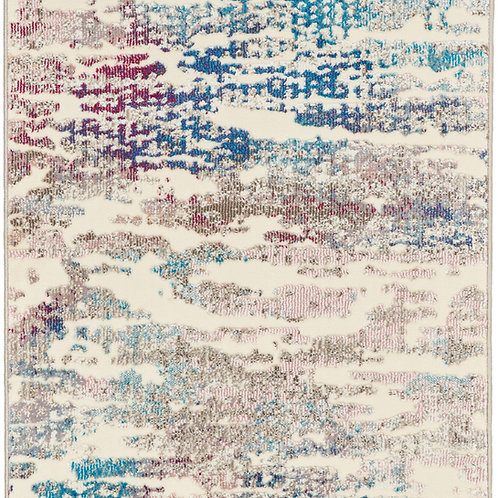 Nourison Radiant RAD10 Red and Blue Multicolor 7' Runner Low-pile Hallway Rug