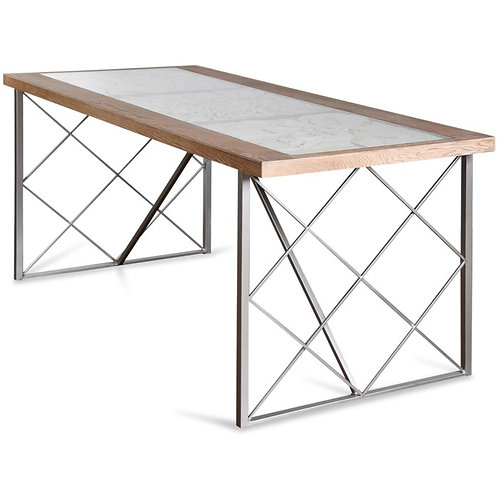 Wooden Floral Engraved Glass Top Dining Table