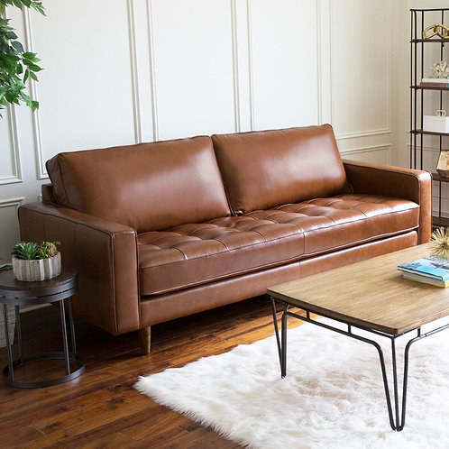 Holloway Mid Century Top Grain Leather Sofa - Camel