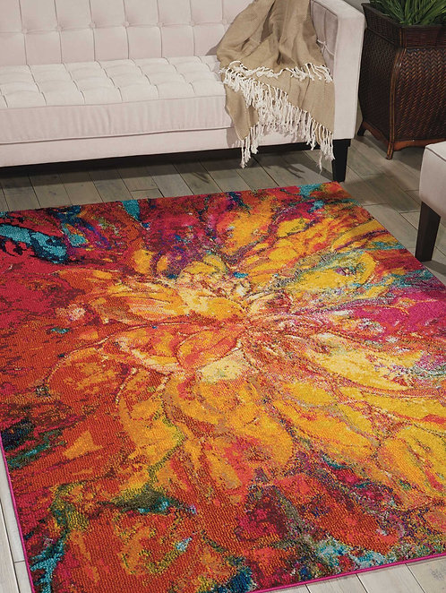 Celestial CES03 Red and Gold Colorful Area Rug