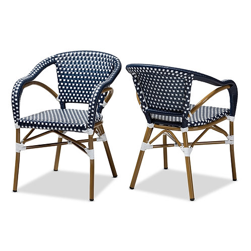 ELIANE CLASSIC FRENCH INDOOR AND OUTDOOR NAVY AND WHITE SET OF 2