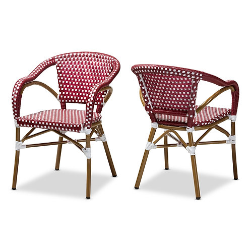 ELIANE CLASSIC FRENCH INDOOR AND OUTDOOR RED AND WHITE BAMBOO STYLE SET OF 2