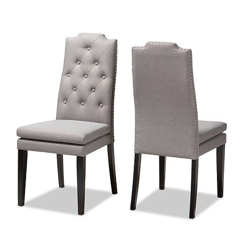 DYLIN MODERN AND CONTEMPORARY GRAY FABRIC UPHOLSTERED DINING CHAIRS SET OF 2