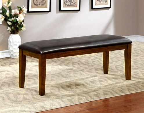 Othello Transitional Style Padded Leatherette Dining Bench