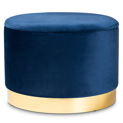 MARISA GLAM AND LUXE BLUE VELVET FABRIC UPHOLSTERED GOLD FINISHED STORAGE