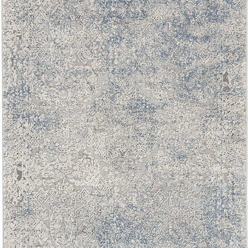 Nourison Rustic Textures RUS09 Ivory and Slate Blue 8' Runner  Hallway Rug
