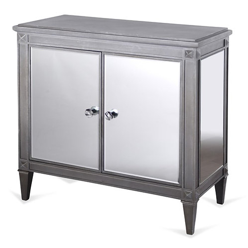 Weathered Grey Wood and Mirrored Cabinet