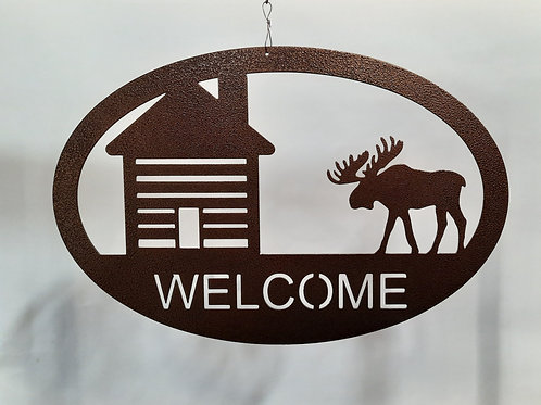 Welcome/Moose Metal Sign - Copper Vein Colour