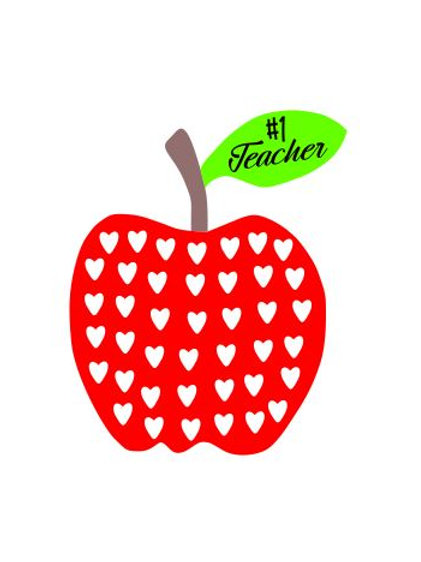#1 Teacher Hearted Apple Digital File