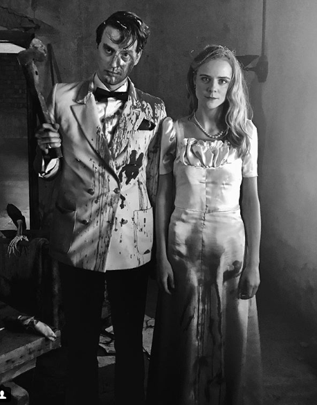 Freddie and Elizabeth on set of Here Comes Hell