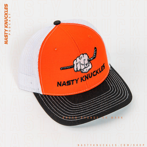 NASTY KNUCKLES Orange, Black & White hat