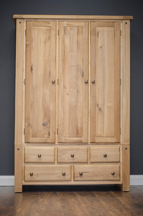 Donny Oak 3 Drawer Wardrobe