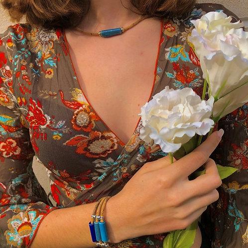 Collier Liège Naturel CERAMIK Tubulaire Bleu Pastel