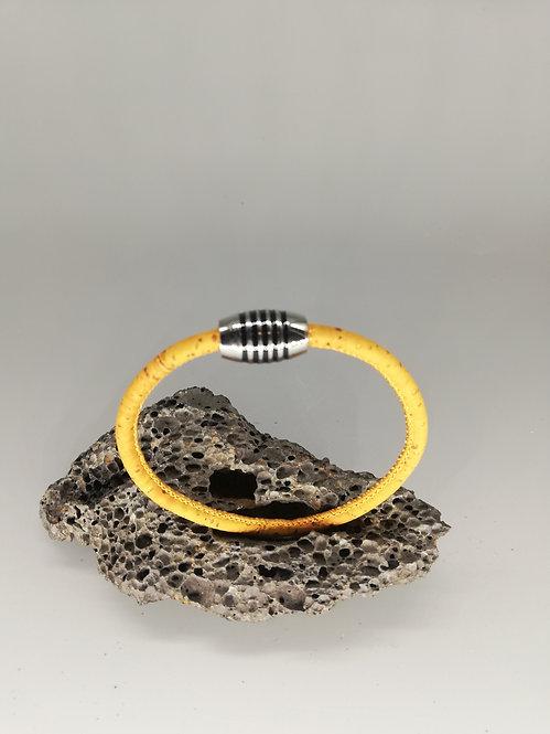 Bracelet Liège Moutarde Fermoir Obus