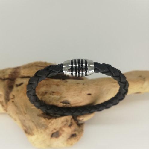 Bracelet Liège Naturel Noir Fermoir Obus