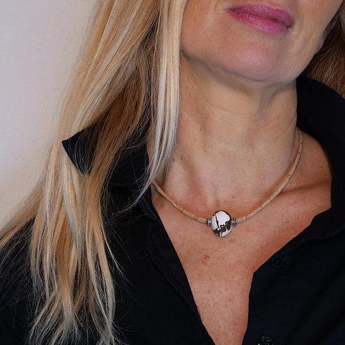 Bijoux Collier  Liège Naturel ceramique Perle  Blanc /Marron  femme made in france fabrication artisanale ST CYPRIEN