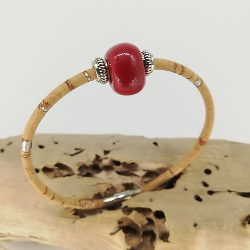Bijoux Bracelet Ceramique Rouge Rubis femme made in france fabrication artisanale ST CYPRIEN