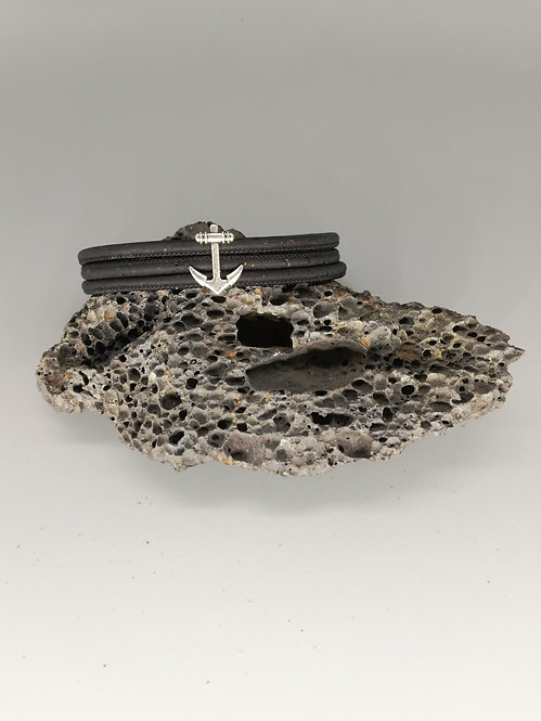 Bracelet Liège Triple Noir Ancre Marine
