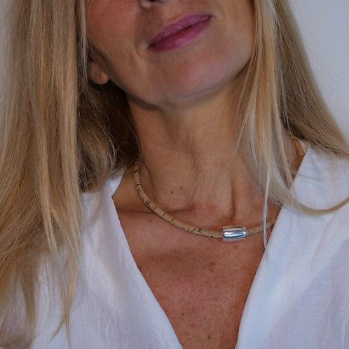 Bijoux Collier Liège Naturel Obus Acier  femme made in france fabrication artisanale ST CYPRIEN