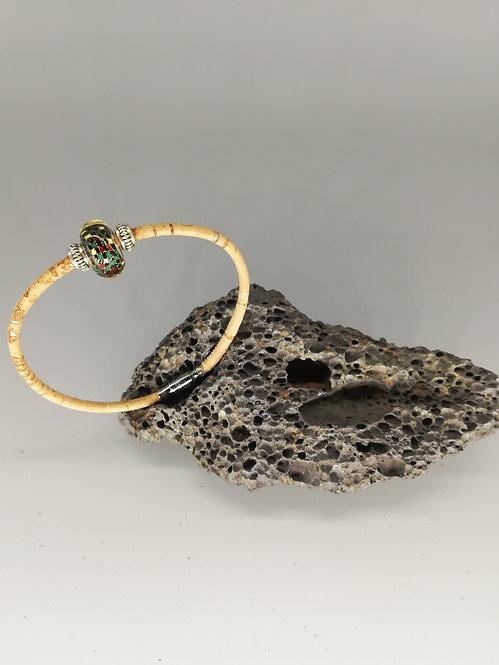 Bracelet Perle de Verre Vert moucheté