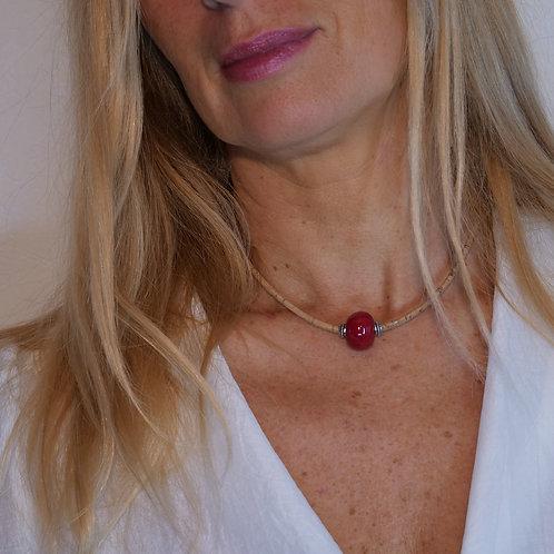 Bijoux Collier  Liège Naturel ceramique Rouge Rubis  femme made in france fabrication artisanale ST CYPRIEN